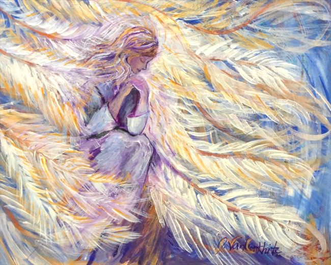 Covered with His Feathers ~ Giclee enhanced canvas print  24x20