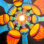 P089 - Drum Circle (limited edition prints 11x11 matted to 16x20)