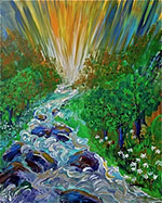 K0064 - Streams of Living Water (Original acrylic on stretched canvas 24x30)